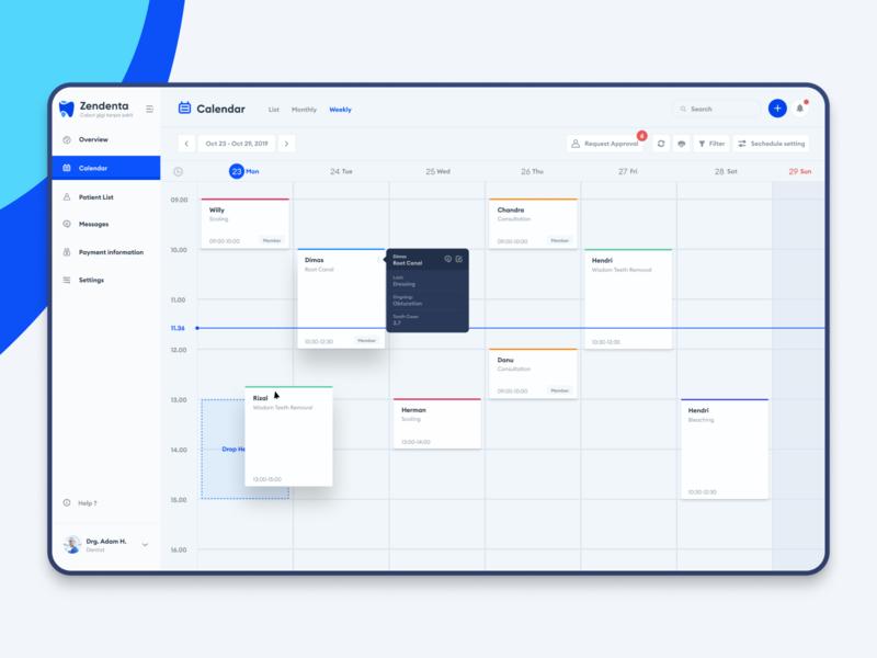 Zendenta - Calendar view schedule webdesign ux ui erp crm calendar treatment doctor dentist booking system management appointment dashboard