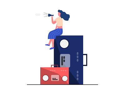 Listen to me! figma vector illustration vector social media audience speak girl woman radio illustration