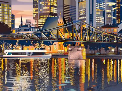 Frankfurt Nightfall reflections dusk cityscape vector art illustration travel poster