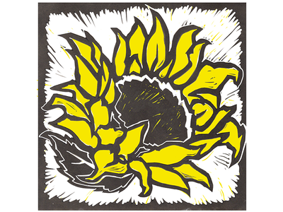 Sunflower Woodcut state flower hand-made print woodcut sunflower