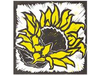 Sunflower Woodcut