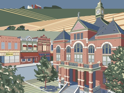 No Place Like Home architecture poster small town vector art travel poster kansas