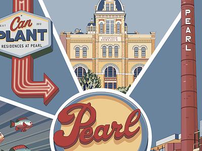 San Antonio's Pearl travel poster poster art vector art beer pearl brewery texas san antonio