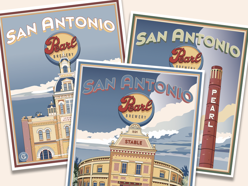 Pearl Brewery Posters architecture illustration vector artwork travel poster poster art beer pearl brewery texas san antonio