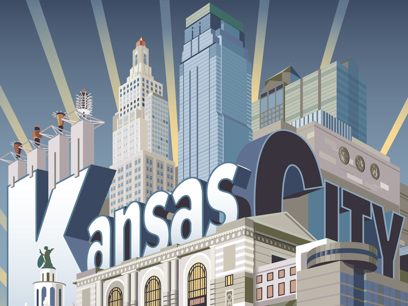 Kansas City, Here I Come! adobe vectors design illustration architecture travel poster country club plaza plaza nelson atkins museum union station power and light building kc cityscape missouri kansas kansas city