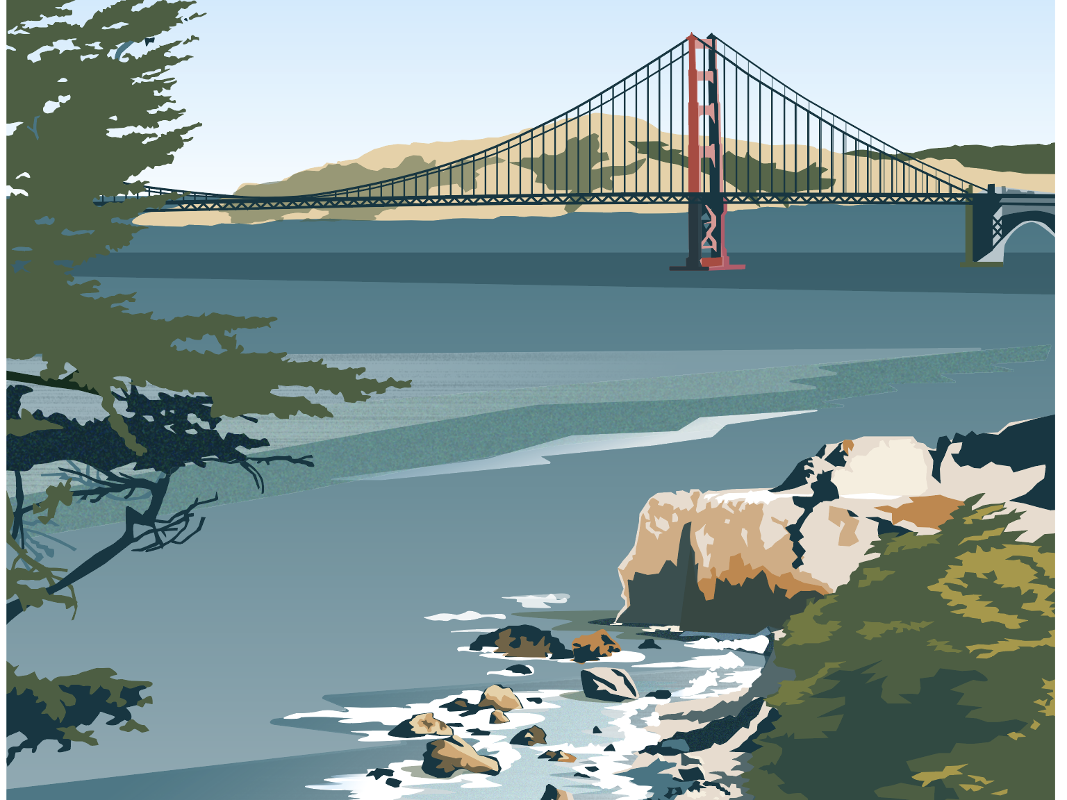 San Francisco: Lands End pacific coast golden gate bridge san francisco vector art travel poster