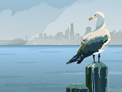 Sunny in Sausalito skyline sea gull san francisco bay vector art sausalito san francisco travel poster