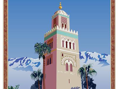 Marrakesh, Morocco Travel Poster travel poster illustrator vector art