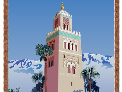 Marrakesh, Morocco Travel Poster travel poster illustrator vector art