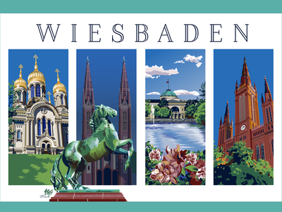 Wiesbaden Travel Poster Series tourism vector art architecture illustration travel poster