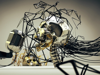 Steel Skull design c4dart cinema4d maxon physical render 3d digital art c4d