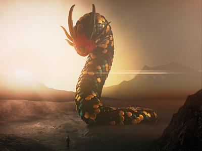 Worm space art monster surreal render illustration cinema4d physical render digital art 3d c4d