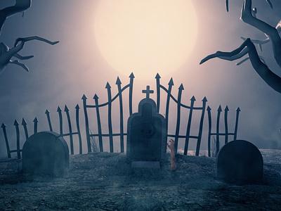 Cemetery arnold render c4dtoa illustration c4dart cinema4d digital art 3d c4d