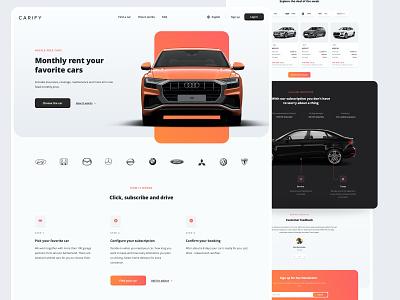 Carify - Car Rental Platform website web design webdesign web ux ui saas rental product design mercedes layout landing page langing home page homepage car rental car booking bmw audi