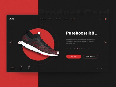 Product Card - Bear Grylls Fitness App dark red behance gym fitness design shoes adidas product card web design inspiration ux ui