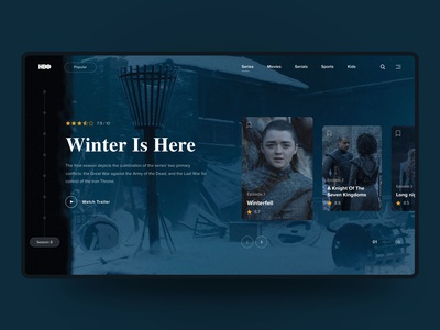 HBO - Series Page Redesign music sound web design animation card design ux ui typogaphy minimal film card show tv series redesign got game of thrones hbo