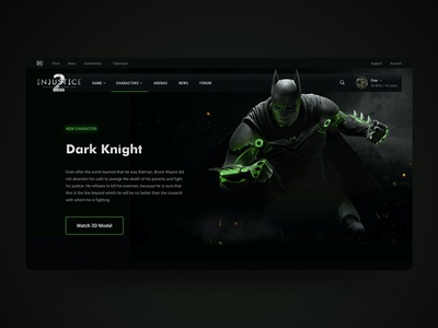 Injustice 2 - Character's Page Redesign character xbox game injustice dc superhero web design superman dark knight joker batman green black inspiration ui ux interface landing page landing
