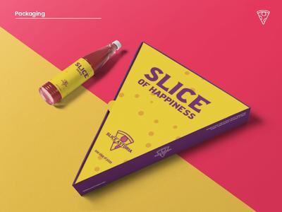 Slice Astoria Packaging packaging label design bottle 3d triangle mockup logo pizza box pizza