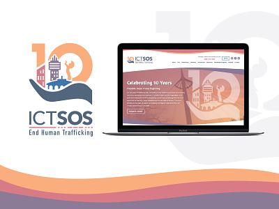 ICT S.O.S 10th Year Anniversary web design anniversary logo non-profit nonprofit branding brand identity identity icon logo illustration
