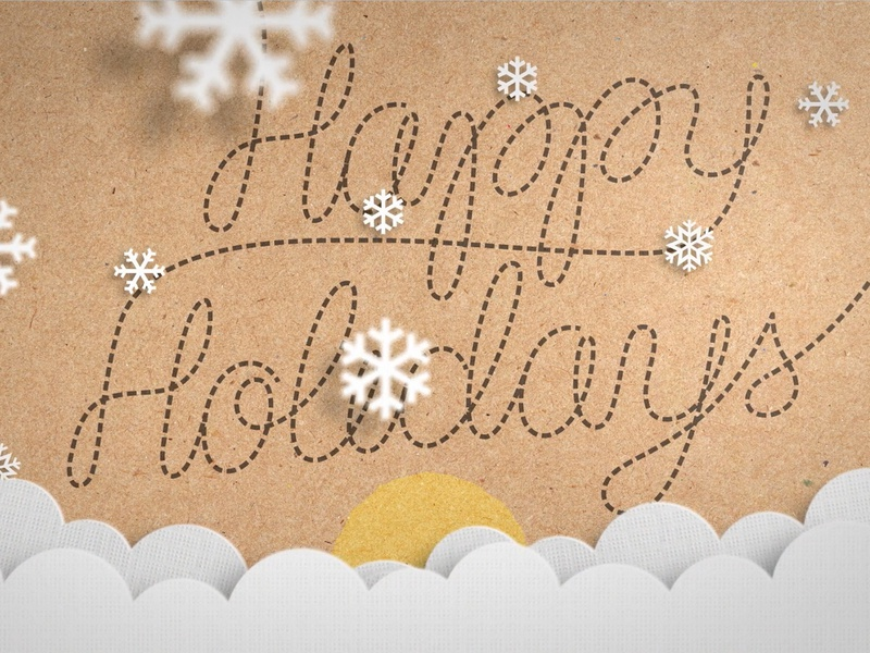 Digital Holiday Card 03 lettering animation stop motion sky clouds snowflakes animation paper airplane lettering holidays merry christmas happy holidays