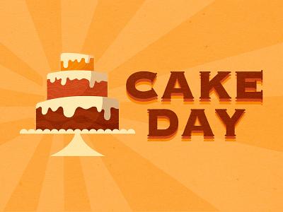 Cake Day text frosting baseline creative cake day cake vintage color texture vector illustration illustrator