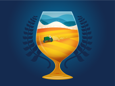 Midwest Beerfest Illustration poster baseline creative vector gradient color wheat glass tractor fields plains midwest beerfest beer collaboration illustrator illustration