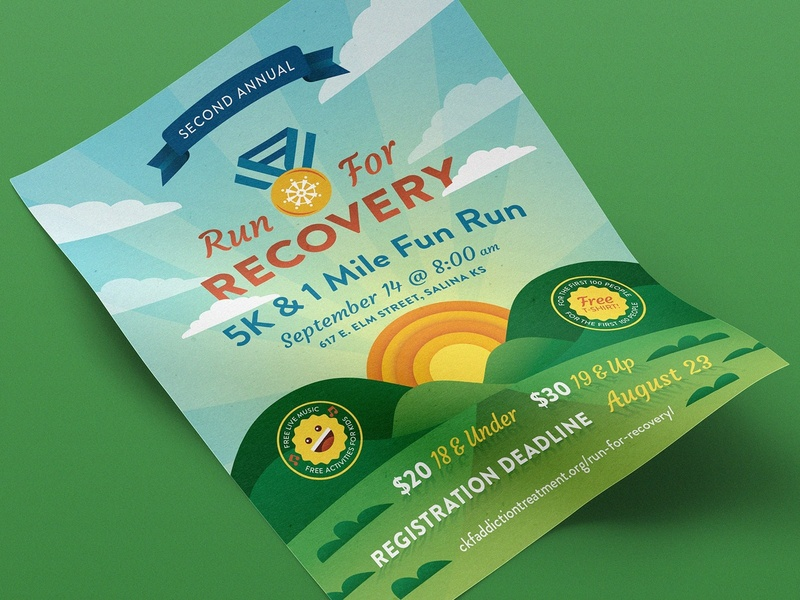 Run For Recovery sunshine baseline creative smile sunrise illustration poster 5k addiction recovery