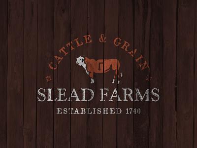 Slead Farms heritage family grain cattle cow brand identity logo farm