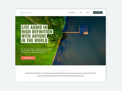 Audio Software Landing Page Concept sound audio landing page saas website saas design photography website ui website audio app cleanfeed