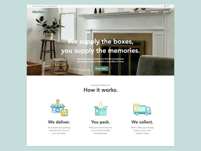 Moving Box Business Homepage ecommerce design photography website ui minimal website design eco friendly moving company