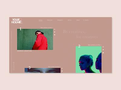 Your Holmie - Work in Progress listing minimal talent website design ui
