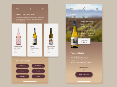 Wine App iphonexs ecommerce app app concept ui wine