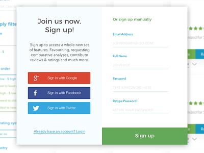 Sign up/ Login Form material design popups login box saas ui website design form design signupform