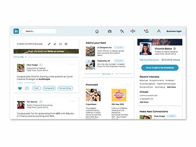 Linkedin Redesign photography ux designer ui design neutral redesign concept news feed minimal website design social media linkedin