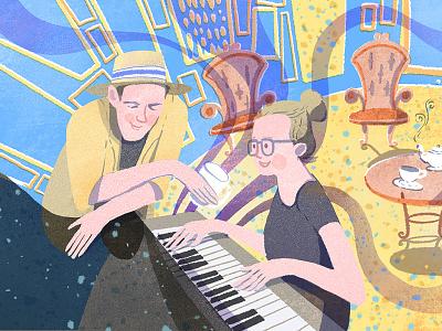 Music, friends and coffee illustrator musician piano coffee bar music editorial procreate kidlitart children book illustration illustration character design editorial illustration