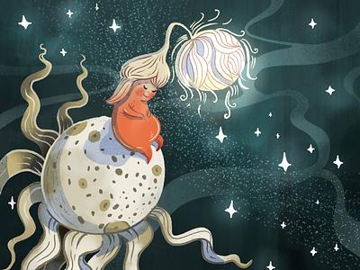 Children's book illustration: Danna and the Wind children book illustration starry sky dandelion character design editorial illustration procreate illustration