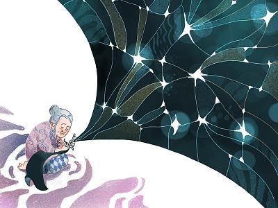 Chinese Folktale: Loawnu The Wise Woman folktale starry sky procreate editorial illustration illustration character design children book illustration