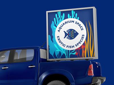 Aquarium space typography vector design art simple logodesign logo simple design graphic  design design branding design branding