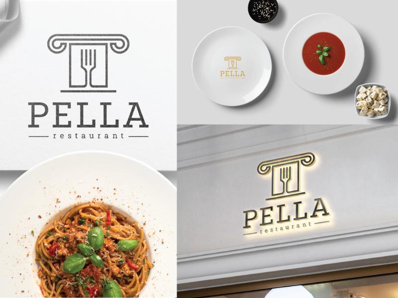 Pella restaurant restaurant design restaurant food typography elegant design art design art elegant vector simple design simple logodesign logo graphic  design design branding design branding