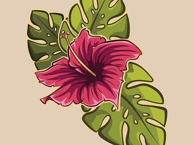 Hawaiian Flower surfing surf tropical vector grapics summer hawaii beach ocean illustration