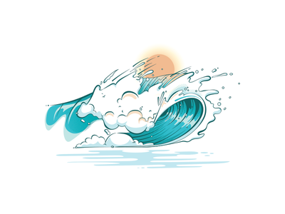 Wavez summer ocean illustration grapics beach hawaii surfing surf