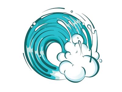 Twisted Swell summer ocean illustration grapics beach hawaii surfing surf