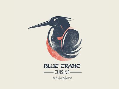 Blue Crane Cuisine birds crane newyork blue graphicdesigner designer logo art typography branding japanese food japanese japan cooking food restaraunt sushi logo