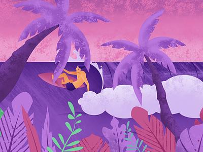Stranded 2 purple waves palmtrees leaf app tropical maui vector icon logo surfing surf design branding summer grapics beach ocean illustration hawaii