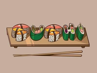 Sushi outline illustration illustraor food and beverage kawaii chopstick japanese japanese food food fish vector icon design surfing surf branding grapics illustration sushi