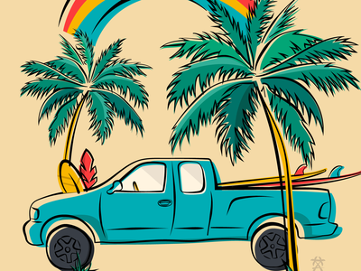Maui Cruiser truck island typography tropical maui vector surfing surf summer ocean hawaii grapics branding beach illustration