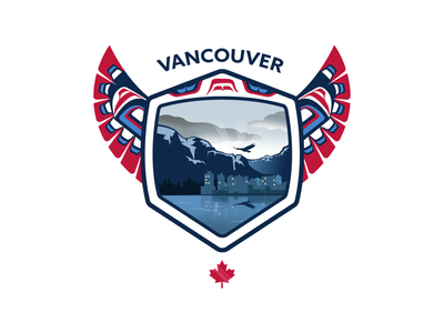 Vancouver Badge badge mountains ocean northern pacific eagle city buildings landscape illustration canada vancouver