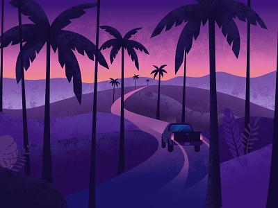 Midnight in Makawao tropical memories night drives car truck sunset purple poster plam tree palm leaf illustration ocean beach surf summer hawaii