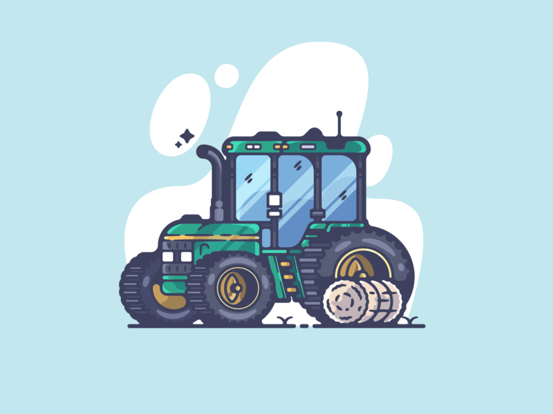 Tractor portfolio flat tractor farm dribbble designer creative cartoon modern color graphic design graphic illustration shot illustrator simple clean art adobe