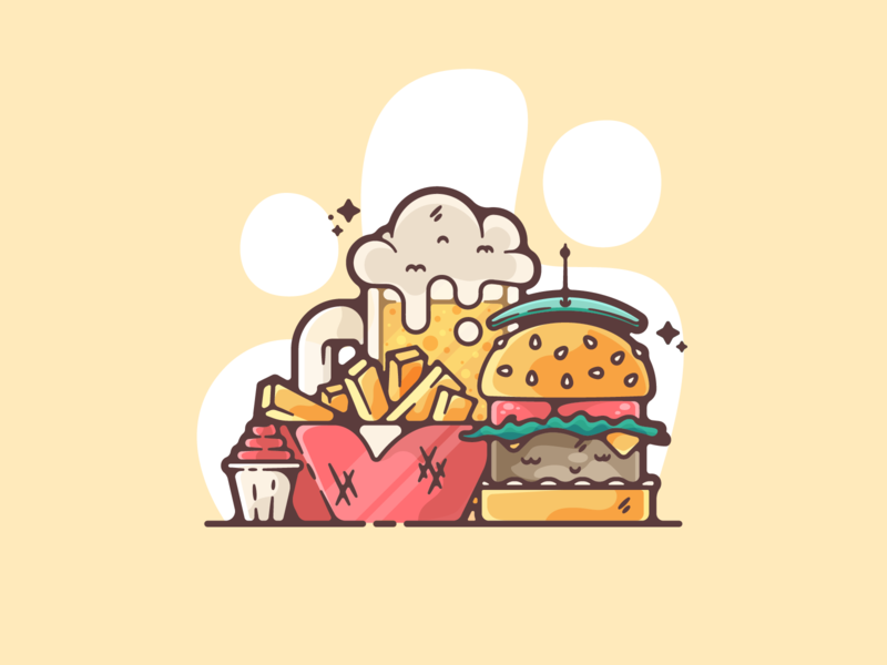 Burger and Fries portfolio flat fast food burger fries dribbble designer creative cartoon modern color graphic design graphic illustration shot illustrator simple clean art adobe